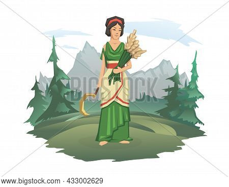 A Woman In Antique Clothes With A Sickle And Ears Of Wheat. Forest And Mountain Landscape In The Bac