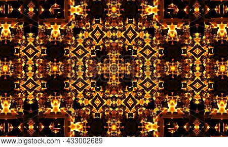 Geometric Composition For Textiles, Shawl, Wallpaper, Seamless, Composition Square, Kaleidoscope Orn