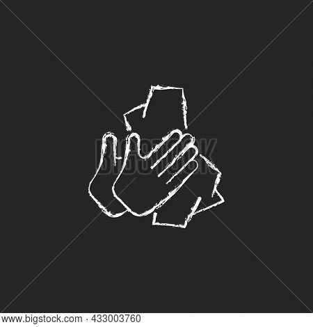 Dry Hands With Tissue Chalk White Icon On Dark Background. Wiping Off Dirt And Germs From Palms. Use