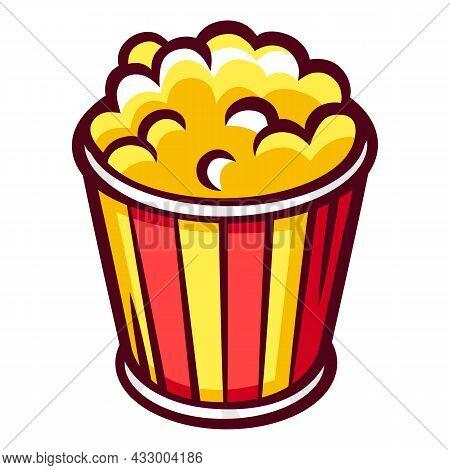 Illustration Of Popcorn. Food Item For Bars, Restaurants And Shops.