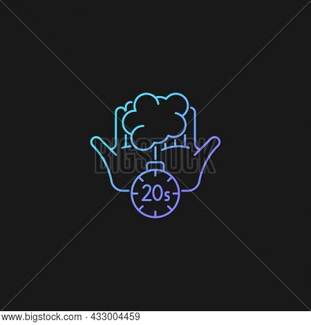 Scrub Hands For Twenty Seconds Gradient Vector Icon For Dark Theme. Clearing Out Germs. Rubbing Hand