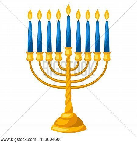 Happy Hanukkah Illustration Of Menorah With Candles. Icon In Cartoon Style.