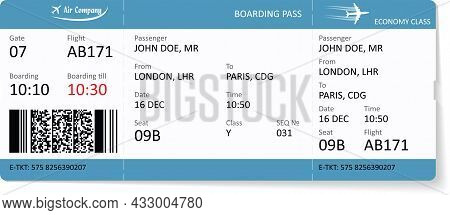 Vector Template Of Airline Boarding Pass Ticket. Passenger Has To Need A Boarding Pass Ticket For Tr