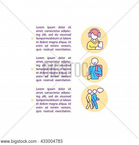 Teenagers Mental Health Concept Line Icons With Text. Ppt Page Vector Template With Copy Space. Broc