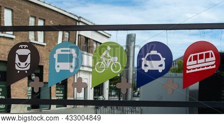 Le Havre, France - August 8, 2021: Advertising And Promoting A Combination Of Different Means Of Tra