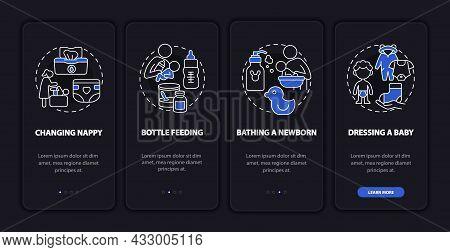 Newborn Nursing Onboarding Mobile App Page Screen. Mother Looking After Newborn Walkthrough 4 Steps