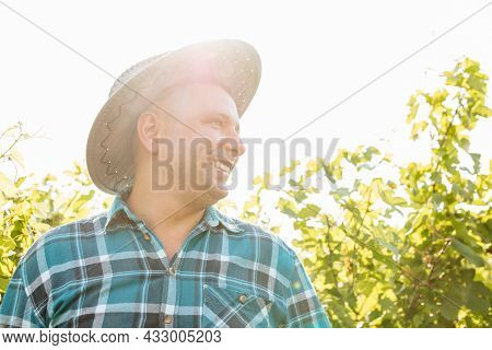 Side View Of Portrait Of A Winemaker With A Hat Standing In Vineyards. Cheerful Farmer In Shirt With