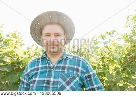 Front View Of The Farmer Looking At The Camera And Smiling. Winemaker With Hat