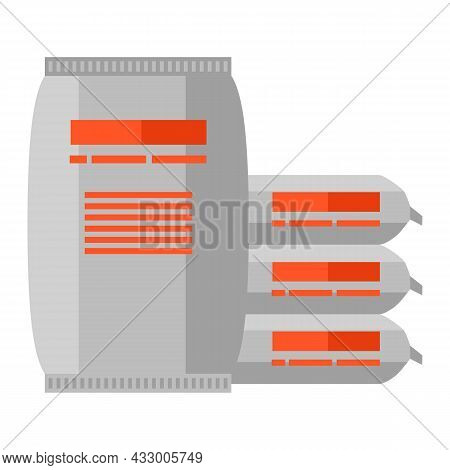 Illustration Of Cement Bags. Housing Construction Item. Industrial Symbol.