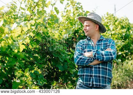 Serious Modern And Young Farmer With Hat, Winery And Winemaker. Caucasian Man