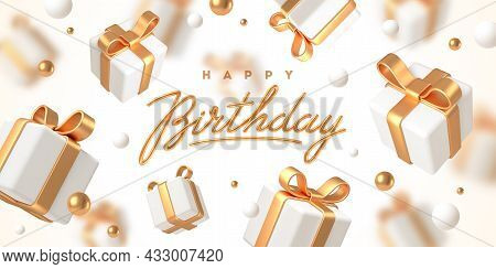 Birthday Greeting Design. Background With 3d White Gift Boxes With Golden Ribbon And Bow. Birthday C