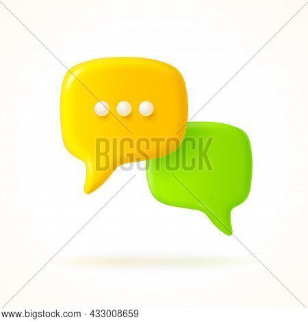 Yellow And Green Speech Bubble. Dialogue Concept Design. Vector Illustration.