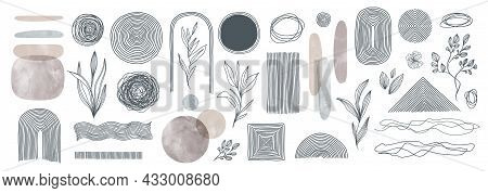 Set Of Elements For Wall Art Minimal Poster. Scandinavian Style Hand Drawn Wall Art Decor. Abstract