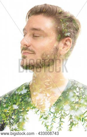 Portrait of a young man with closed eyes combined with a picture of flowers