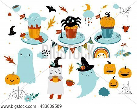 Large Set Of Cute Baby Ghosts, Pumpkins And Cupcakes For A Happy Halloween Party. Bat, Spider Web, S