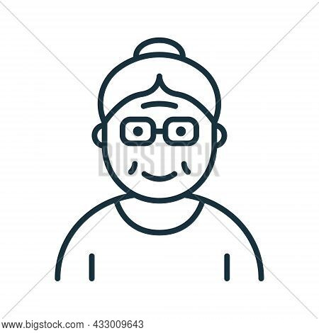 Old Senior Person Line Icon. Happy Elder Lady Linear Pictogram. Old Grandmother Outline Icon. Retire