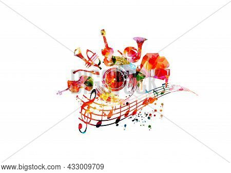 Musical Promotional Poster With Musical Instruments And Lp Vinyl Record Disc Vector Illustration. Ar