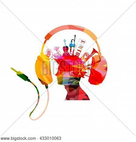 Colorful Man With Musical Instruments And Headphones. Musical Poster With Cello, Trumpet, Piano, Sax