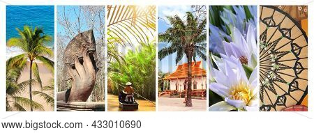 Collection of vertical banners with nature and landmarks of Asia. Palm, beach, Mekong cruise, ancient statue of multi-head naga serpent, lotus flowers, buddhist pavilion. Travel and resort concept