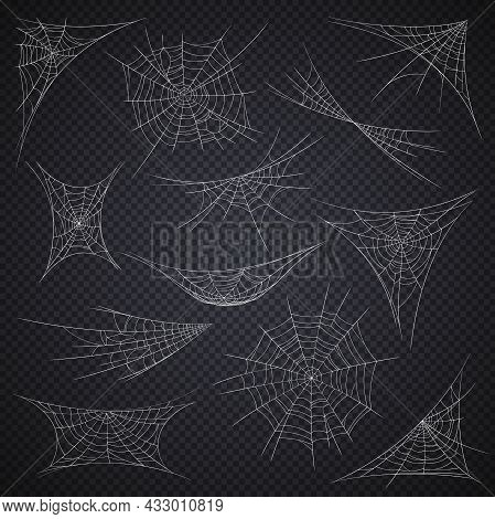Isolated Spider Web And Cobweb, Halloween Holiday Decorations On Vector Transparent Background. Cart