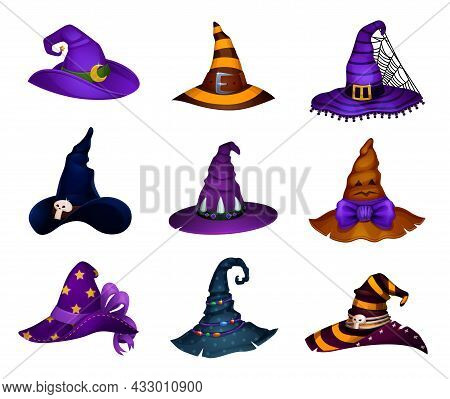 Cartoon Witch, Sorceress Or Enchantress And Charmer Halloween Hats, Vector Icons. Magician Wizard Or