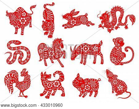 Chinese Zodiac Horoscope Animals. Red Papercut Characters Of Lunar Calendar Twelve Sequences Vector