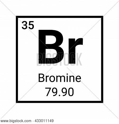 Bromine Chemistry Element Symbol Icon. Chemical Education Science Atom Periodic Table Bromine