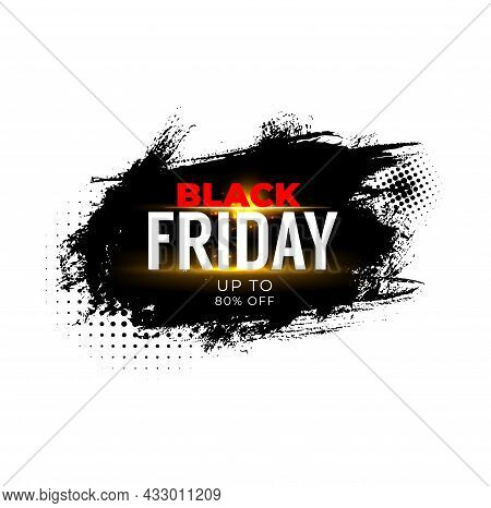 Black Friday Sale Banner For Weekend Shop Offer And Discount Promo. Black Friday Sale Vector Label O