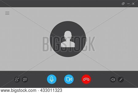 Virtual Call Video Mockup Icon. Videocall Interface Phone Desktop Conference Screen Template Ui