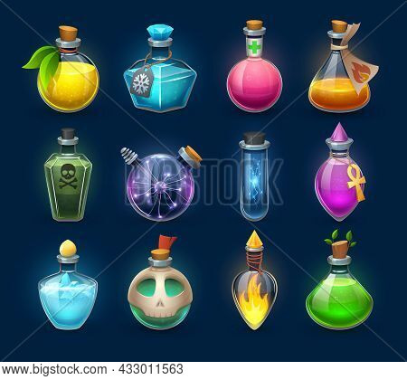 Halloween Witchcraft, Potion And Poison Cartoon Bottles, Phials And Flasks, Vector. Magic Potion And