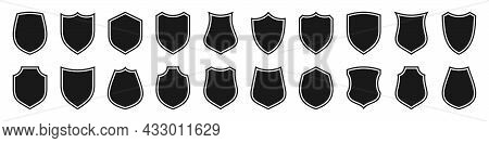 Set Of Various Vintage Shield Icons. Black Outlined Heraldic Shields. Protection And Security Symbol
