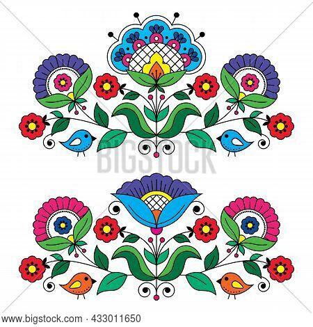 Swedish Floral Folk Art Vector Greeting Card Design Elements Inspired By Traditional Scandinavian Em