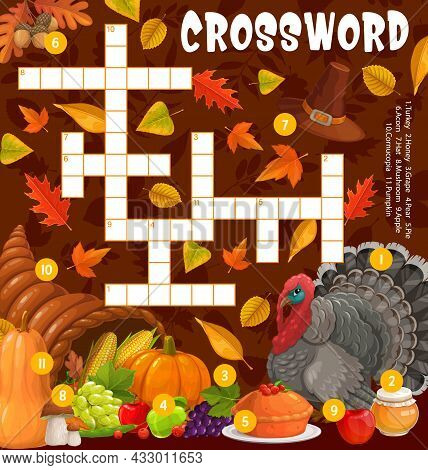 Thanksgiving Turkey, Cornucopia And Meals, Crossword Puzzle Game Grid, Vector. Find A Word Quiz Work