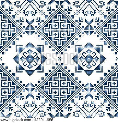 Zmijanjski Vez Traditional Navy Blue Cross-stitch Vector Seamless Pattern - Inspired By The Old Folk
