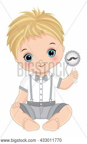 Cute Little Man Sitting Holding Rattle With Moustache Image. Cute, Blond Baby Boy Wearing Fashion Wh