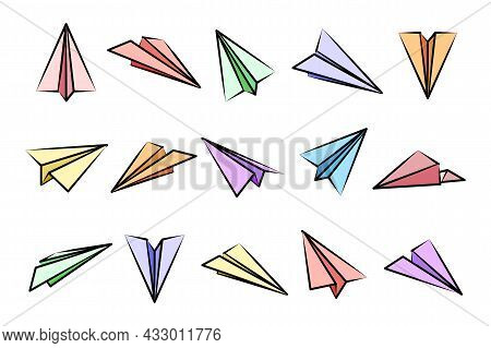 Various Hand Drawn Paper Planes. Colorful Doodle Airplanes. Aircraft Icon, Simple Plane Silhouettes.