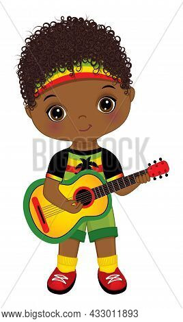 Cute Little African American Boy Wearing Rastafarian Outfit Playing Guitar. Little Is Curly. Cute Re