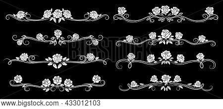 White Rose Flower Vintage Borders, Dividers And Floral Swirls, Vector Pattern Frames. Floral Line Or