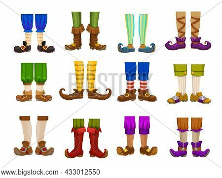 Cartoon Legs Of Gnome, Elf, Wizard, Magician And Warlock, Wiz And Sorcerer. Isolated Vector Feet And