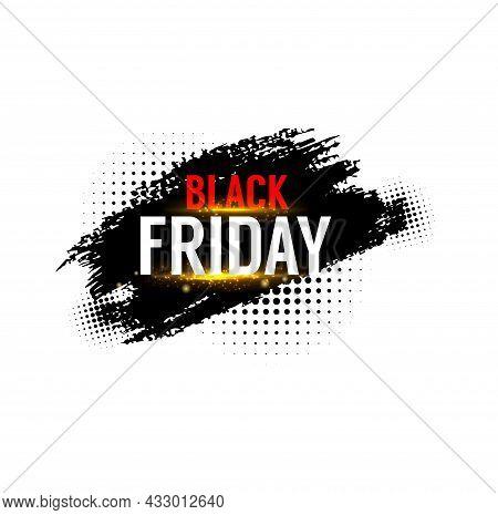 Black Friday Sale Banner, Weekend Shop Promo Label, Vector Discount Tag. Black Friday Sale Promotion