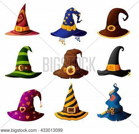 Witch, Magician Wizard Or Warlock Sorcerer And Mage Halloween Hats, Vector. Cartoon Caps Of Sorceres