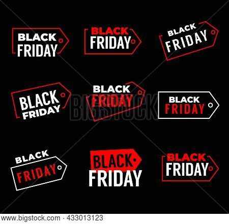 Black Friday Sale Banners, Weekend Shop Offer Labels For Promo, Vector Tags. Black Friday Discount A