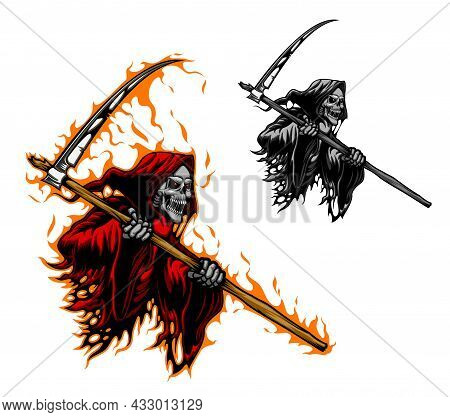 Grim Reaper Tattoo, Scary Death Or Demon Monster With Scythe Blade, Vector. Death Skull Or Skeleton