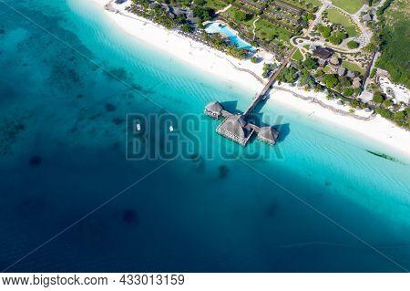 Tropical Sea. Amazing bird eyes view in Zanzibar