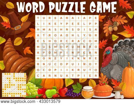 Thanksgiving Turkey, Harvest And Autumnal Leaves, Word Search Puzzle, Vector Game Worksheet. Kids Qu