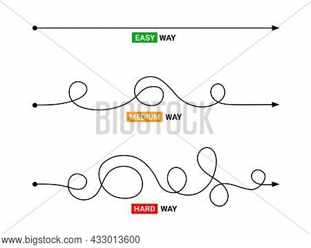 Simple Or Difficult Way Path Concept. Easy Simple Medium Difficult Complicated Problem Doodle Line V