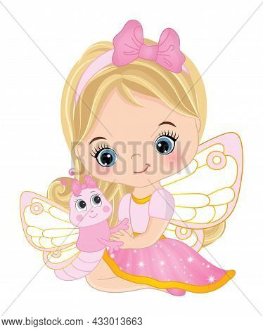 Cute Little Fairy Wearing Pink Dress Holding Baby Butterfly. Little Fairy Is Blond With Long Hair. L