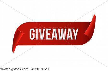 Giveaway Contest Ribbon Promo Label Prize. Vector Giveaway Banner Badge Design Template