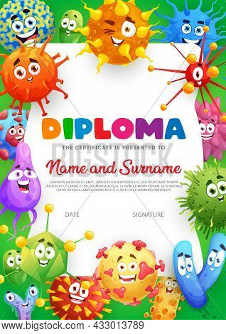 Kids Diploma Certificate With Cartoon Funny Microbes, Germs And Viruses, Vector Certificate. Kinderg