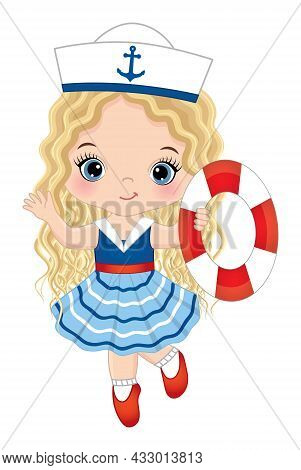 Vector Cute Little Girl Wearing Nautical Dress Running With Lifebuoy. Cute Girl Is Blond With Long,